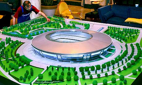 A model of new UEFA-standard stadium soon to be completed in the east Ukrainian city Donetsk, one of the expected host cities for Euro 2012. Photograph: Photomig/EPA