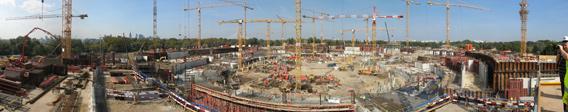 Panorama of speeding up the construction work of Polish National Stadium